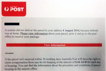 Fake emails posing as parcel delivery notification