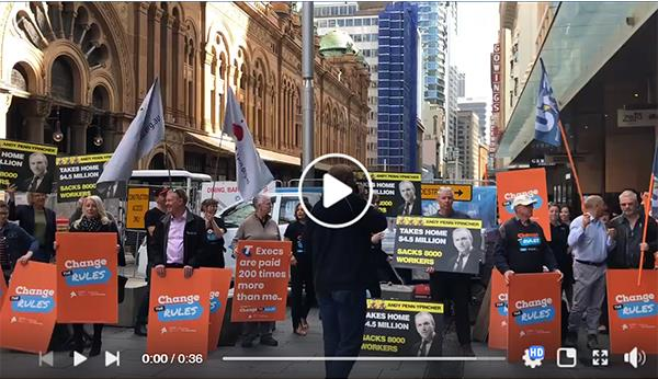 rally outside Telstra AGM